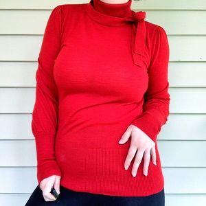 Diane von Fürstenberg Turtleneck Bow Sweater Red